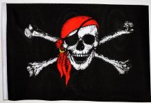 "PIRATE WITH BANDANA - SMALL BUDGET FLAG 9"" X 6"""